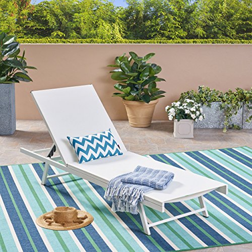 Great Deal Furniture Simon Outdoor Aluminum and Mesh Chaise Lounge, White