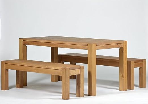 Sitzgruppe Rio Bonito Farbton Honig hell mit Esstisch 160x80cm + 2x Sitzbank 160x38cm Pinie Massivholz geölt und gewachst Tisch und Bank, Optional:
