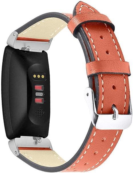 Accken Bracelet de rechange en cuir respirant pour Fitbit Inspire /& Inspire HR
