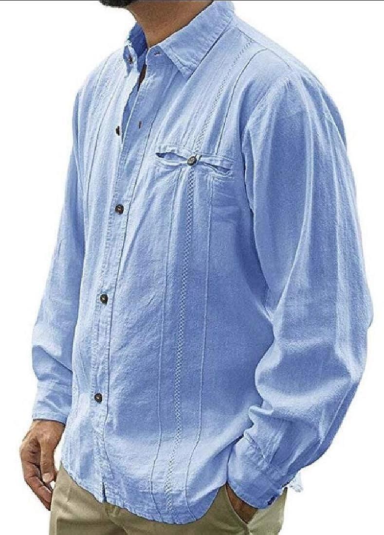 dahuo Camisa de Lino Cubano de Manga Larga con Botones y Cuello para Hombre Playera Tops Azul Azul XS: Amazon.es: Ropa y accesorios