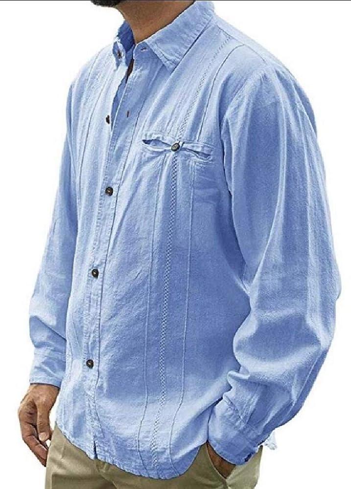 Camisa de manga larga para hombre, guayabera cubana de lino con botones Azul azul XS: Amazon.es: Ropa y accesorios