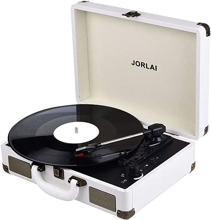 JORLAI Record Player Bluetooth Vinyl Turntable 3 Speed Vintage Record Players with Stereo Speakers Belt Driven Portable Nostalgic Phonograph White