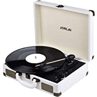 JORLAI Record Player Bluetooth Vinyl Turntable 3 Speed Vintage Record Players with Stereo Speakers Belt Driven Portable…