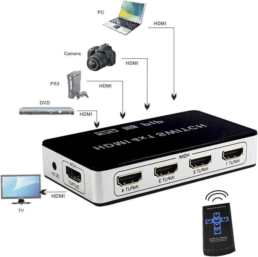 HDMI Switch 4x1 4K@30Hz 4 in 1 Out HDMI Picture in picture 4 port hdmi Switcher Selector Full HD 1080P With Remote Control