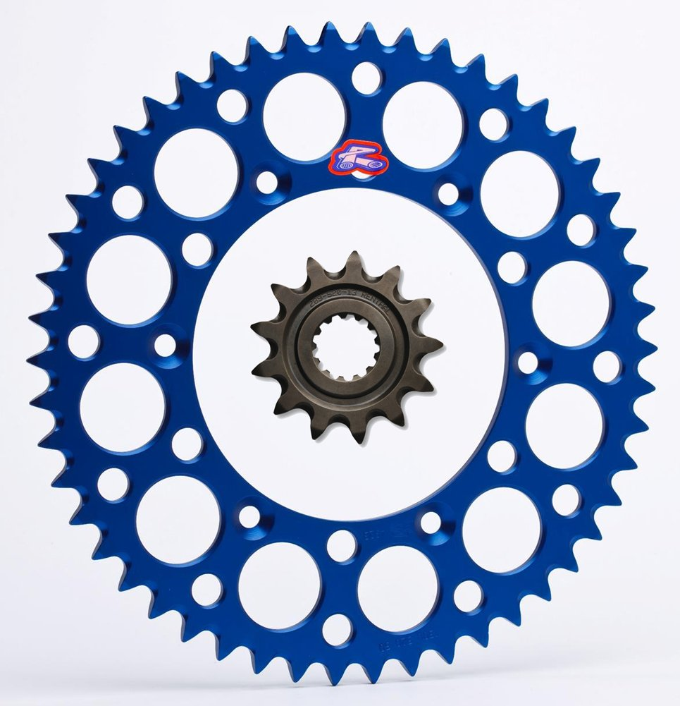 Renthal Grooved Front & Ultralight Rear Sprockets Kit - 12/52 BLUE - Yamaha WR450F, YZ450F