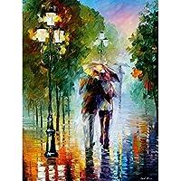 Kit de pintura al óleo por número con pareja romántica de amor PBN para decoración de la pared de hogar de 40,6 x 50,8 cm, Walk in the rain, Wooden frame, 1