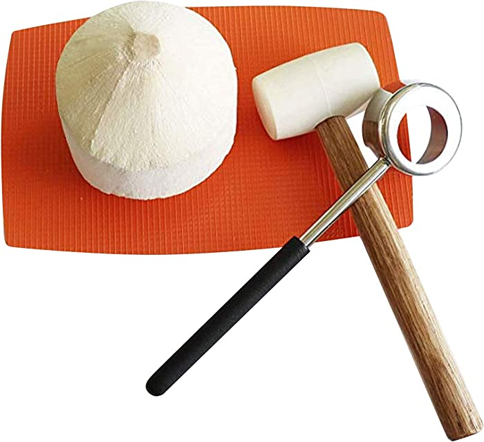 Coconut Opener Tools with Hammer Super Safe & Easy to Open Young Coconuts, Food Grade Stainless Steel Opener, Rubber Mallet with Handle by KINGLEV