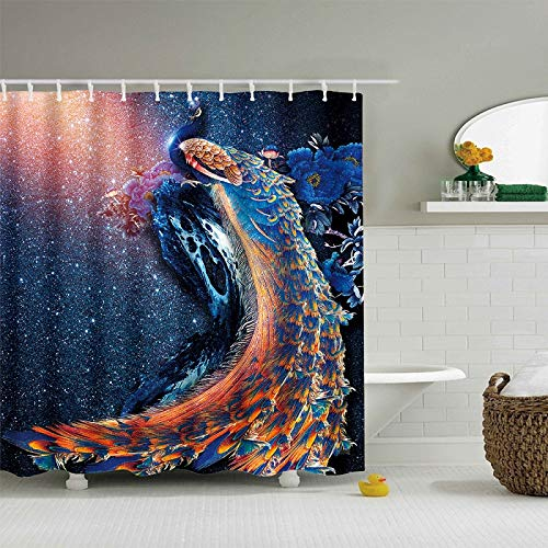 Amazon UniTendo 3D Colorful Peacock Print Wonderland Mildew Free Shower Curtain With Hooks Bathroom Decoration Water Repellent72 X 72 Inches