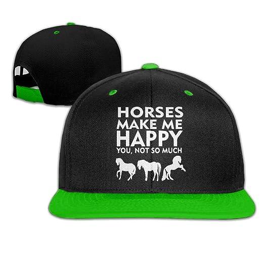 AJHGD Horses Make Me Happy 1 Unisex Hip Hop Flat Brim Snapback Caps  Adjustable Baseball Cap Hats Women Men at Amazon Men s Clothing store  78628eb8b572