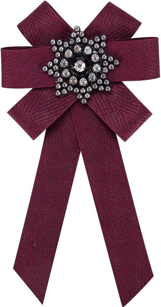 Yazilind Strass /Étoile Ruban Pr/é-Attach/é Acrylique Longue Noeud Papillon Toile pour Femmes Broche Broche Bijoux