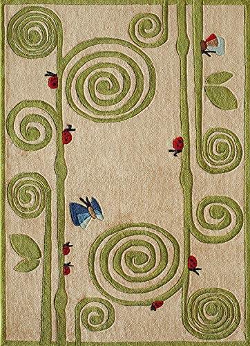 Momeni Rugs Lil Mo Whimsy Collection Kids Themed Hand Carved Tufted Area Rug, 4 x 6 , Ivory