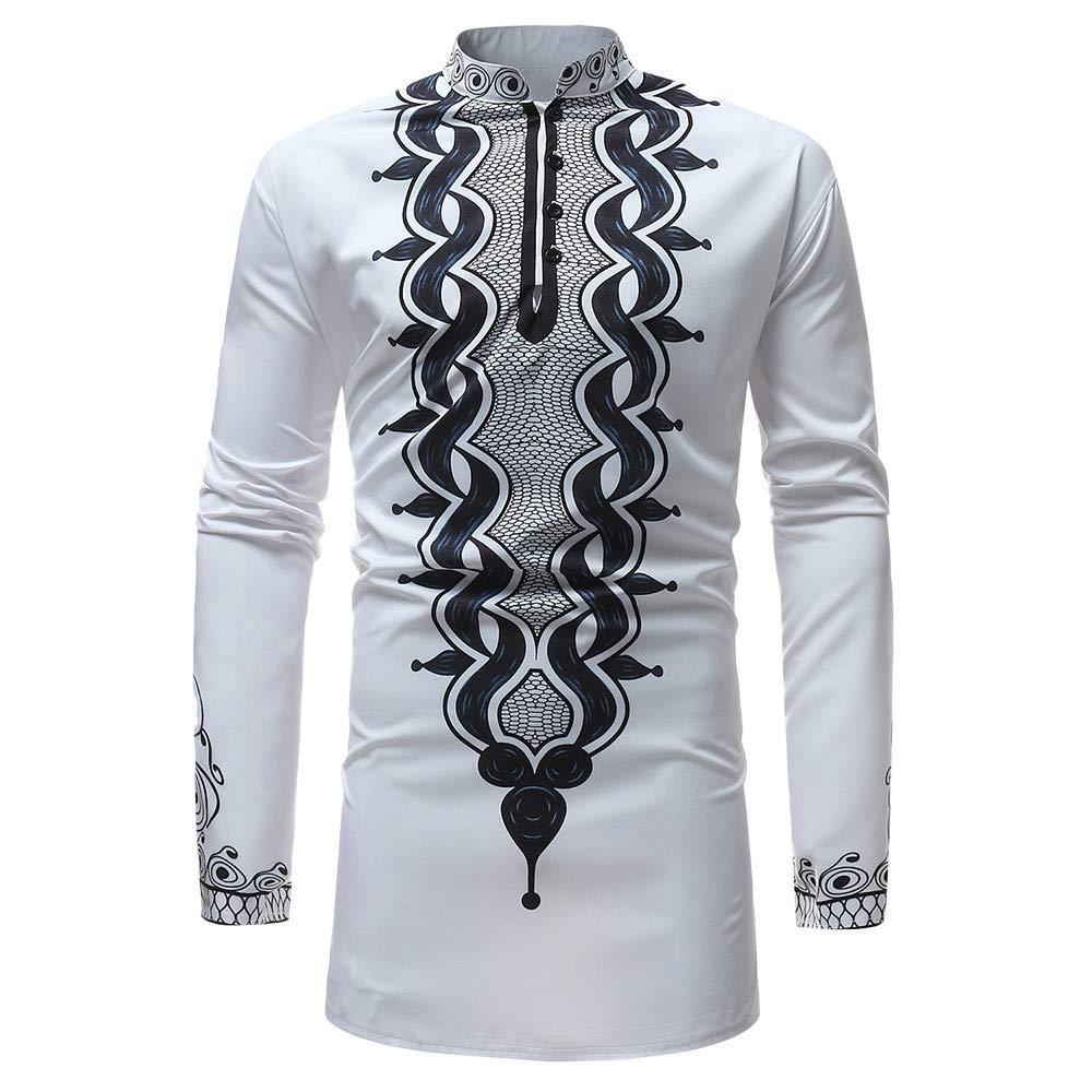 Beautyfine Men's Autumn Winter Top Blouse, Luxury African Print Long Sleeve Dashiki Shirt