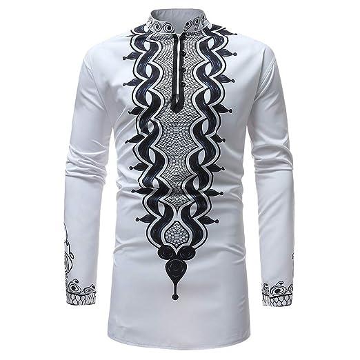 3e3f498b2c6f CieKen Shirt Men s Autumn Winter Luxury African Print Long Sleeve Dashiki  Shirt Top Blouse at Amazon Men s Clothing store