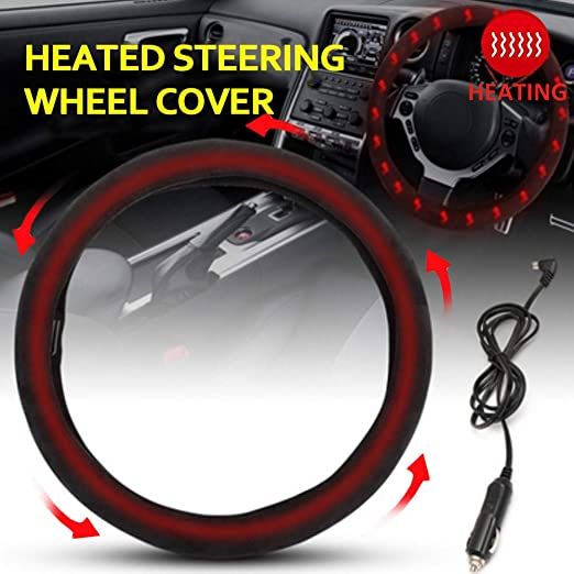 Car Heating Electric Steering Wheel Cover 12V Heated Car Lighter Plug 38cm Hot