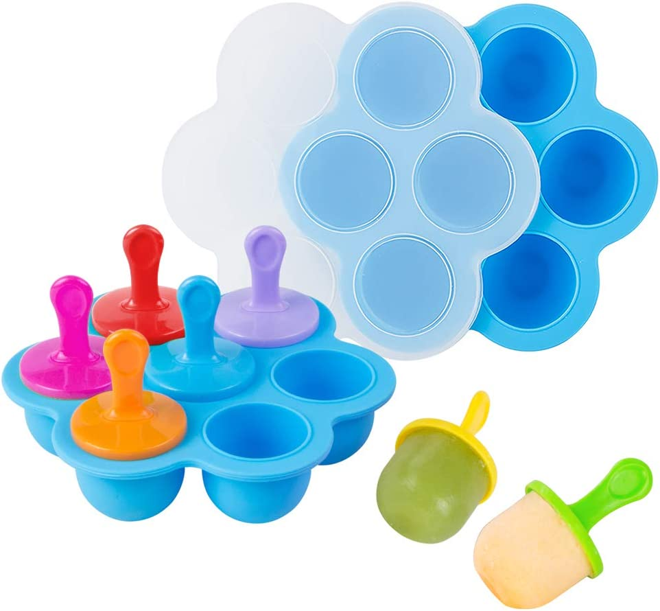 Webake Baby Food Freezer Trays with Lid, Silicone Ice Cube Popsicle Molds with 7 Ice Pop Sticks, Egg Bites Molds Set of 2 for Instant Pot Accessories 3,5,6 qt Pressure Cooker