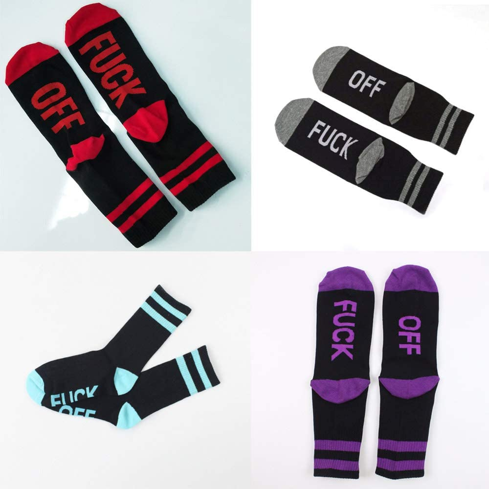 Comidox 6Pairs Fuck Off Letters Socks Cotton Half Crew Socks Soft Funny Casual Sports Socks for Men Women Couples 6 Colors
