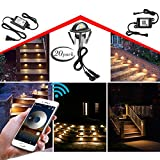 WiFi Deck Lights, FVTLED WiFi Controlled 20pcs Low Voltage LED Deck Lights Kit Φ1.38'' Outdoor Recessed Step Stair Warm White LED Lighting Work with Alexa Google Home, Black