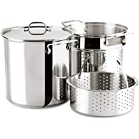 All-Clad E796S364 Specialty Stainless Steel Dishwasher Safe 12-Quart Multi Cooker Cookware Set, 3-Piece with 1 lid…