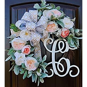 Lambs Ear Monogram Letter Wreath for Front Door Decor with Pale Pink Roses and Custom Hand-tied Bow-22 Diameter 12
