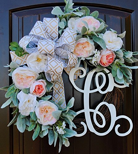 Lambs Ear Monogram Letter Wreath for Front Door Decor with Pale Pink Roses and Custom Hand-tied Bow-22 Diameter