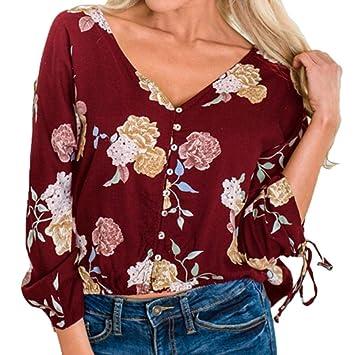Camisa de botón de Mujer,Modaworld Blusa con Estampado Floral Casual para Mujer
