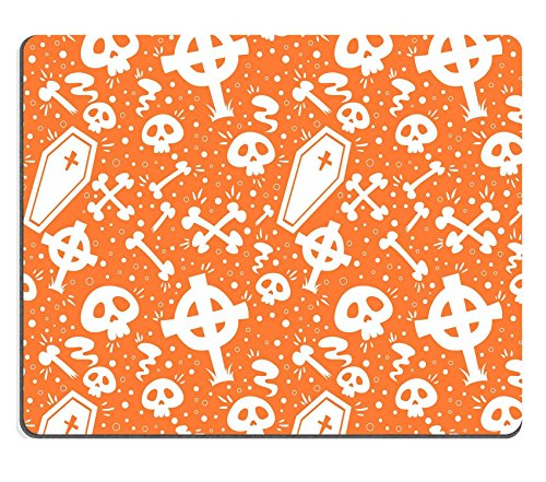 Luxlady Mouse Pad Natural Rubber Mousepad IMAGE ID: 30829505 Creepy cartoon Halloween seamless texture with tomb stones sculls and (Cartoon Tombstone)