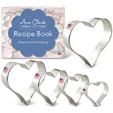 Ann Clark Cookie Cutters 5-Piece Hearts Cookie Cutter Set with Recipe Booklet, Hearts 4.25 in, 4 in, 3.5 in, 3 in, and 2…