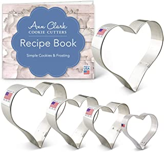 product image for Ann Clark Cookie Cutters 5-Piece Hearts Cookie Cutter Set with Recipe Booklet, Hearts 4.25 in, 4 in, 3.5 in, 3 in, and 2.25 in.