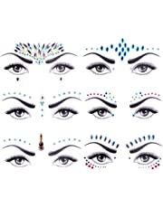 Face Gems, Lady Up 6 PCS Face Jewels Tattoo Set Mermaid Gem Rhinestones Eyes Body Stickers Bindi Crystals Glitter for Rave Party Festival