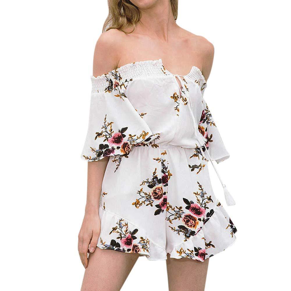 Jumpsuit Rompers for Women,Women Off Shoulder Print Playsuit Bodycon Floral Jumpsuit L, White,L