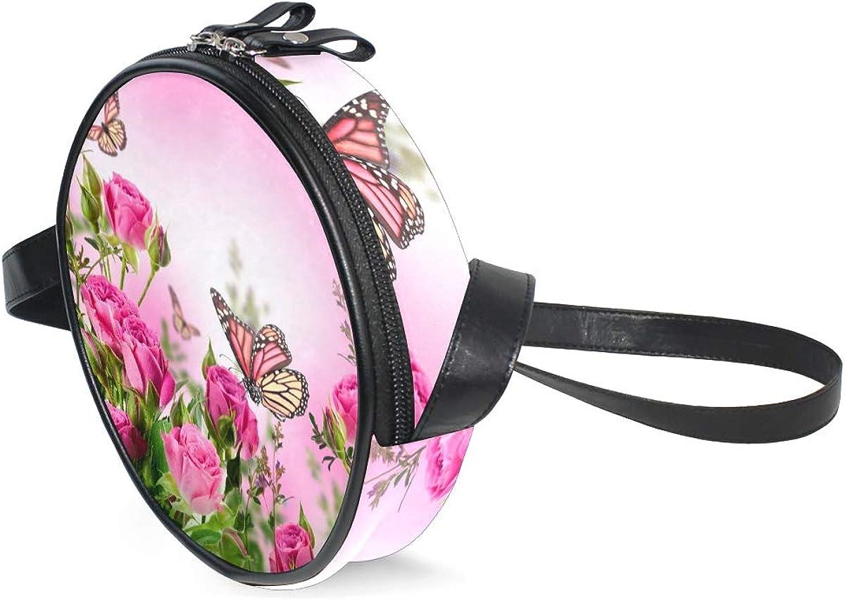 KEAKIA Butterflies And Roses Round Crossbody Bag Shoulder Sling Bag Handbag Purse Satchel Shoulder Bag for Kids Women