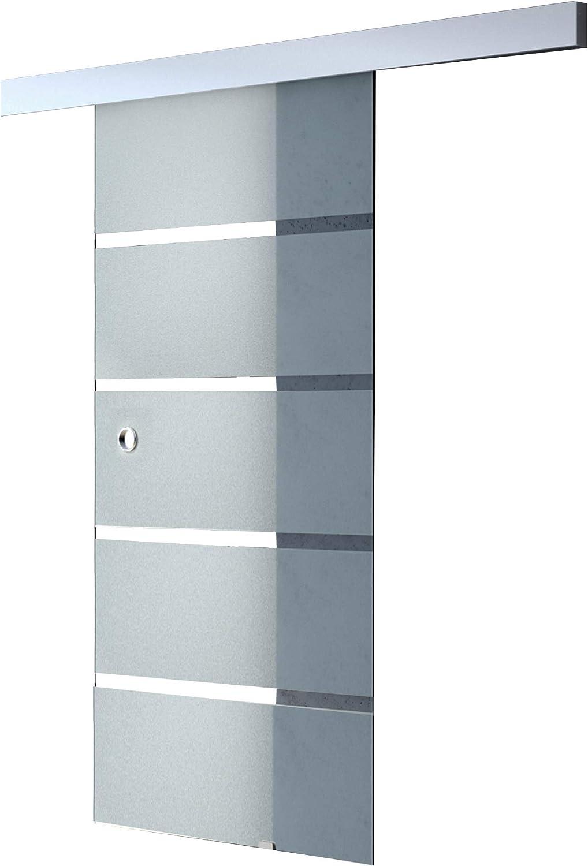 Sogood Puerta corrediza de vidrio 90x205cm diseño Almafi TS13-900, puertas de vidrio de seguridad ESG parcialmente satinado: Amazon.es: Bricolaje y herramientas