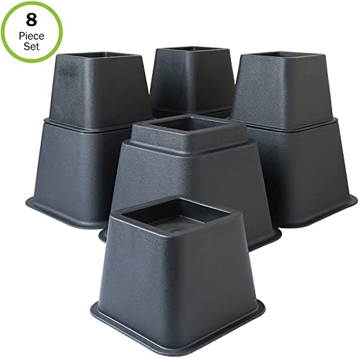 3, 5 or 8-Inch Home Solutions Premium Adjustable Bed Risers or Furniture