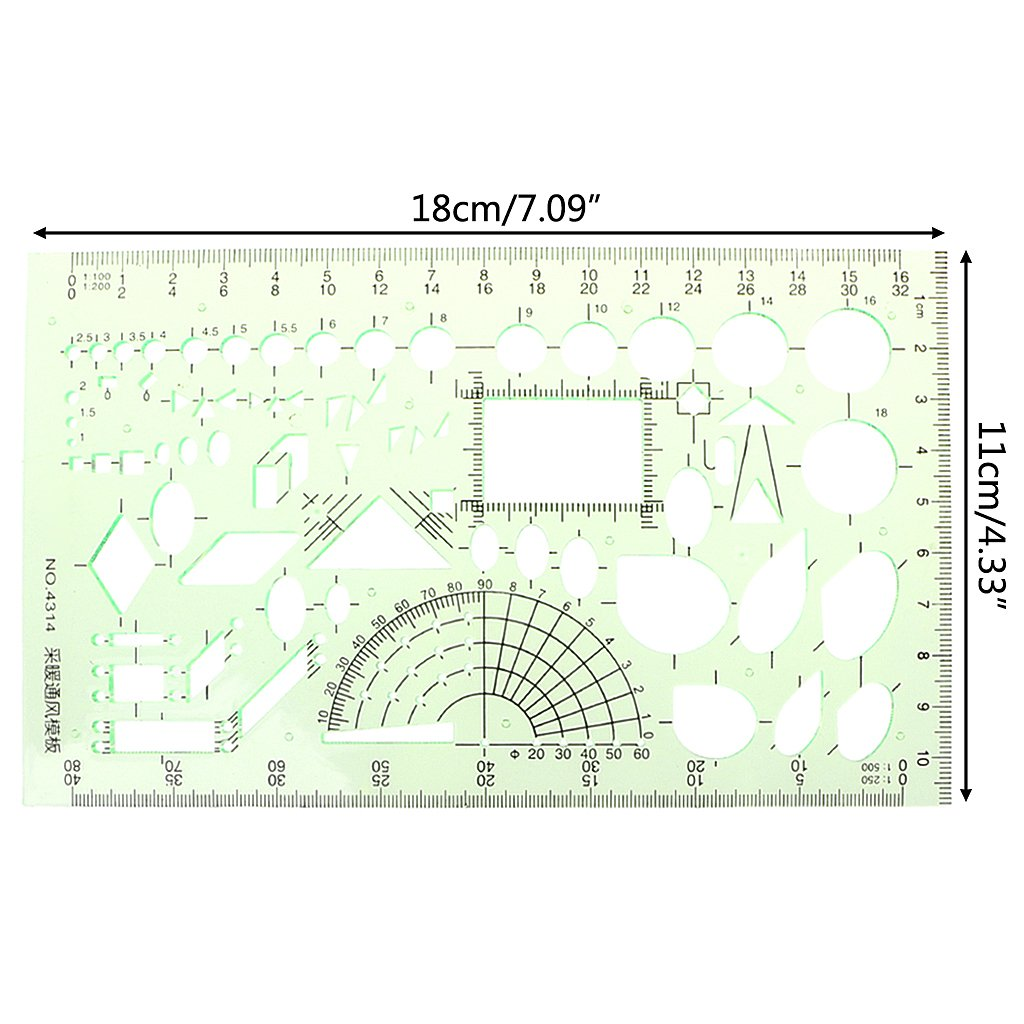 Oranmay Rectangle Circle Shape Geometric Drawing Tool Template Ruler Student Stationery