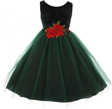 f7d178e38be7 Little Girls Sleeveless Floral Velvet Rose Tulle Christmas Flower Girl Dress  Green 2 (K39D6)