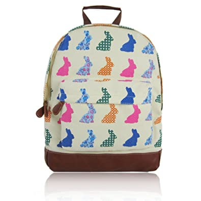 Craze London- New KIDS Childrens Designer Style Canvas RABBIT Print  Backpack Bag JC Kids  Back to School  Collection ... (Beige)  Amazon.co.uk   Shoes   Bags e122974cc0c6b