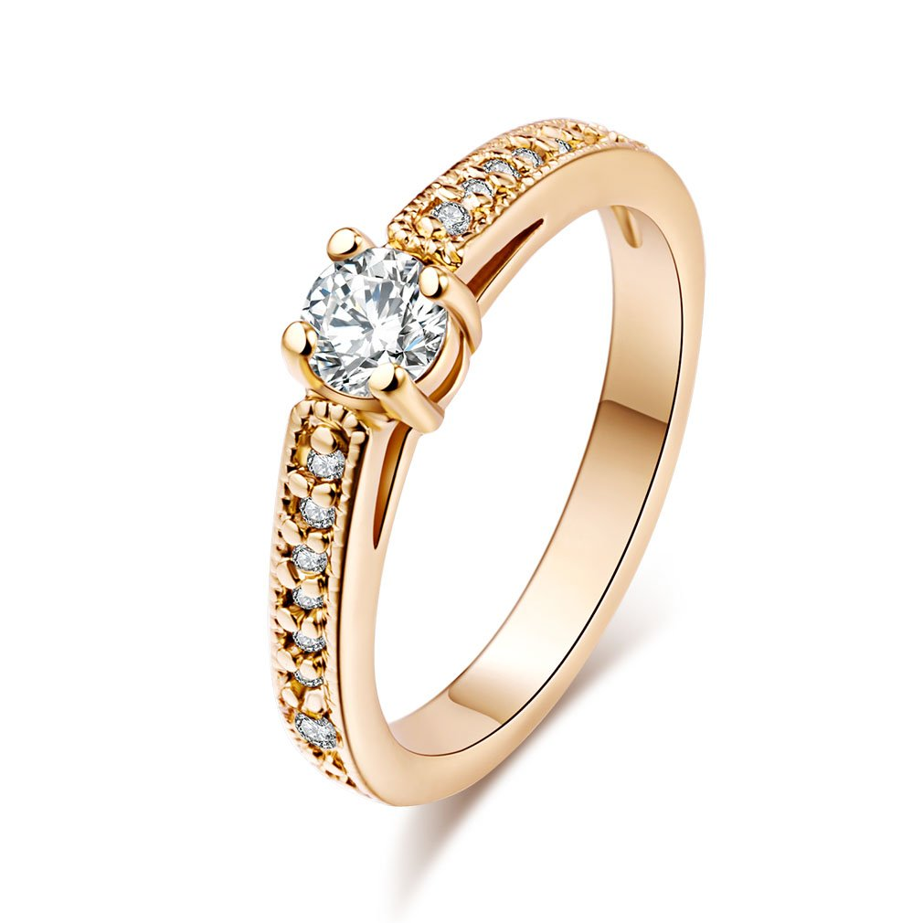 YAZILIND Eternity Love Women's 18K Gold Plated Princess Cut CZ Inlaid Crystal Engagement Rings Best Promise Rings Anniversary Wedding Bands for Lady Girl High Polish Finish Comfort YAZILIND JEWELRY LTD ZH1076R1334