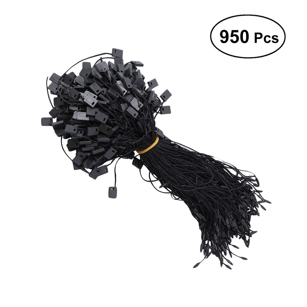 Healifty 950pcs Hang Tag Fasteners Label Hanging Rope String Snap Locks Pin Security Loop (Black)