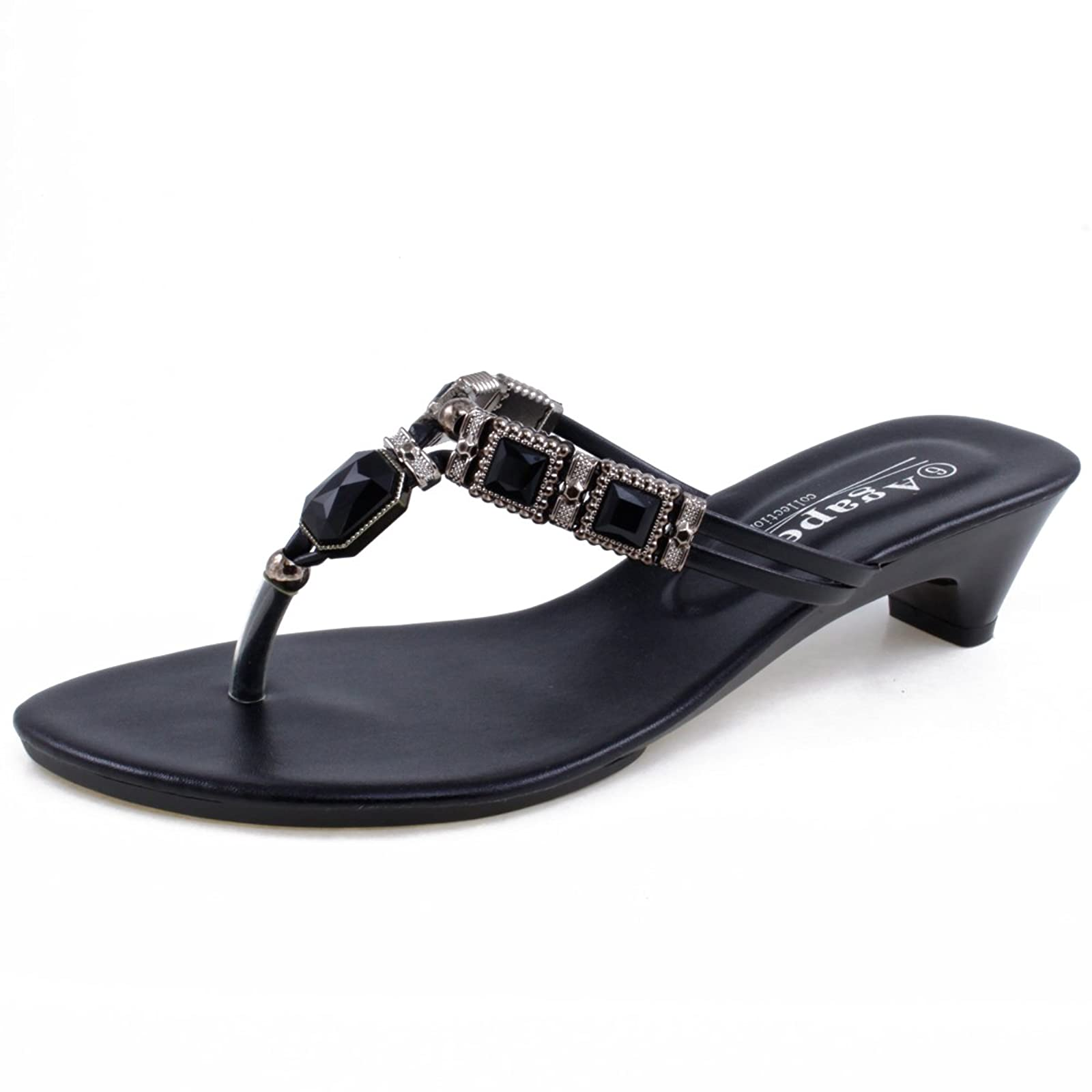 2088ab125c4f1 Agape VEGA-16 Jeweled Thong Low Heel Large