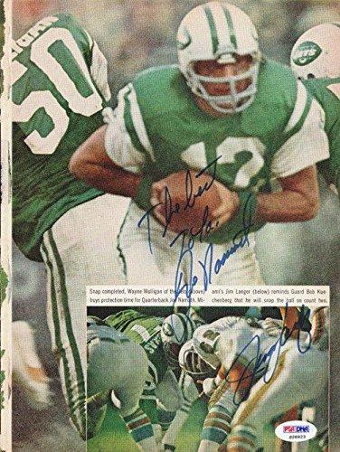 Joe Namath & Jim Langer Autographed Signed Magazine Page Photo S28923 PSA/DNA Certified Autographed NFL Magazines