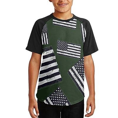 Big Black American Flag Girls Raglan Crew-Neck Novelty T-Shirts Short Sleeve T-shirts