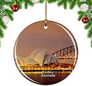 Weekino Australia Sydney Opera House Christmas Xmas Tree Ornament Decoration Hanging Pendant Decor City Travel Souvenir Collection Double Sided Porcelain 2.85 Inch