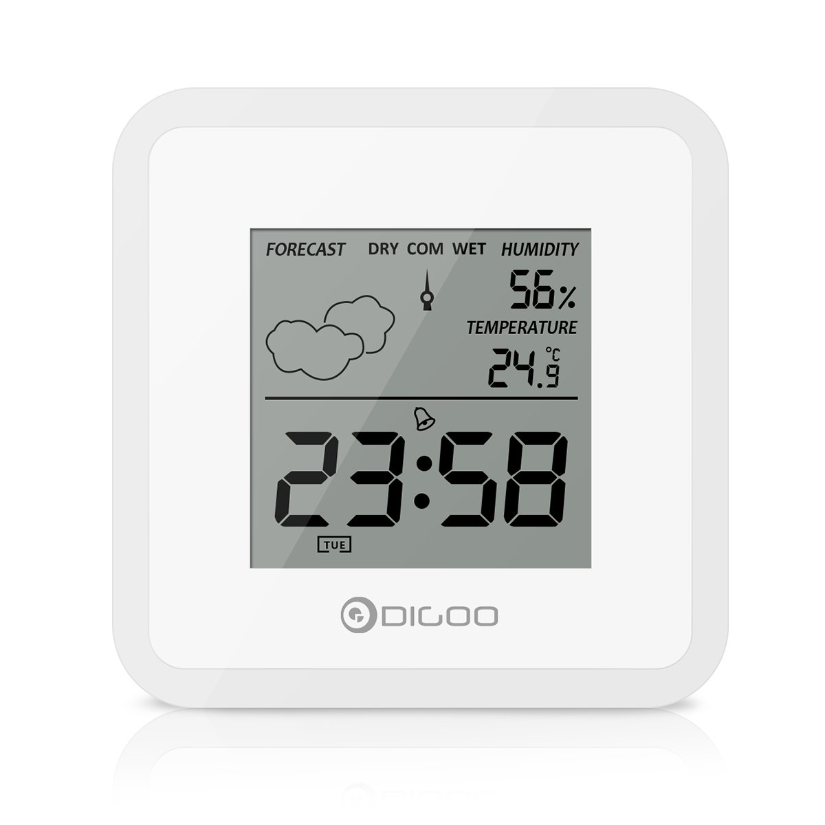 DIGOO DG-FC25 Indoor Thermometer, Temperature Monitor Hygrometer Sensor Alarm clock Weather Forecast, Home Mini Digital Alarm Clock Black Viceirye DIGOOWuulihuiFR11