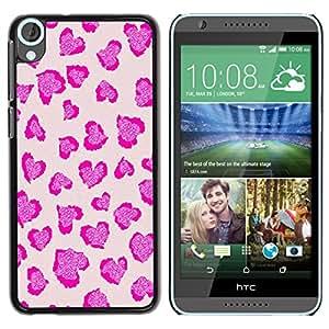 iKiki Tech / Estuche rígido - Pink Leopard Print Fur Pattern - HTC Desire 820