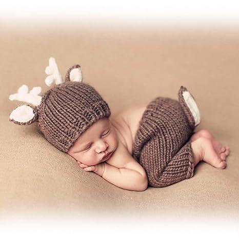 HaimoBurg Ropa de Bebe Recien Nacido Conjunros de Bebes Tejido a Mano la Estatua para Fotografía Atrezzo Treje 0-6 Meses (Venado)