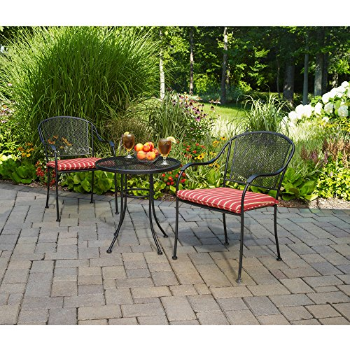 Outdoor Bistro Set 3 Piece Includes 2 Chairs and 1 Table Wrought Iron Seat Pads Mesh Top Table Durable Steel Construction Water Stain Mildew Resistant Cushions UV Protection Patio Garden (Wrought Iron Mesh Top Table)