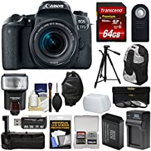 Canon EOS 77D Wi-Fi Digital SLR Camera & EF-S 18-55mm IS STM Lens with 64GB Card + Battery & Charger + Grip + Backpack + Filters + Tripod + Flash Kit