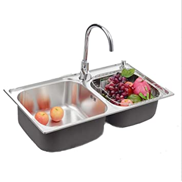 Amazon.com: 304 Stainless Steel Sink Double Slot Green ...