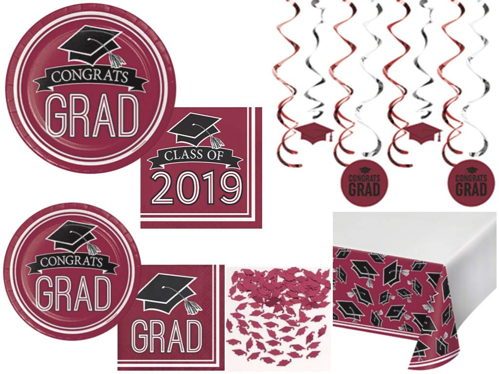 Class of 2019 Graduation School Spirit Burgundy & Black Party Tableware & Decorations for 36 Guests