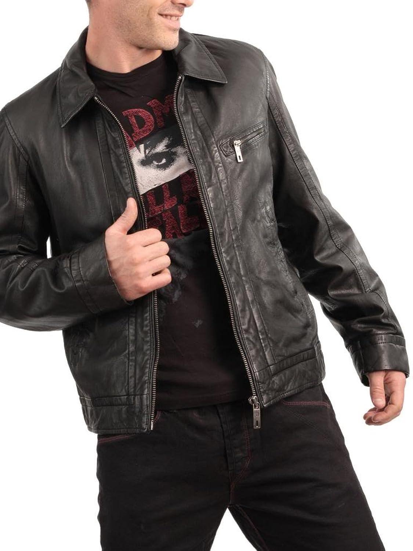 ABDys Men's Lambskin Leather jacket DKL703 Black